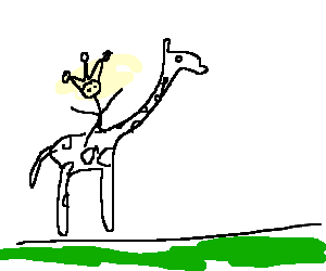 A fool is riding a giraffe