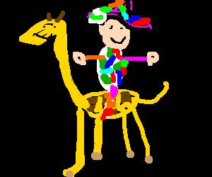 harley quinn riding a giraffe
