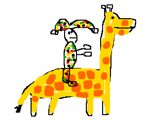 harlequin riding a giraffe