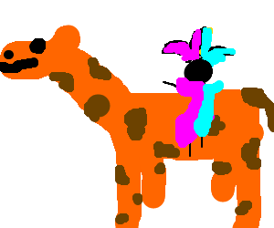 Jester in motley riding a giraffe