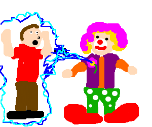 Man shocked by clown with water spraying flower