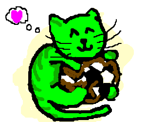 green cat likes a dirty soccer ball