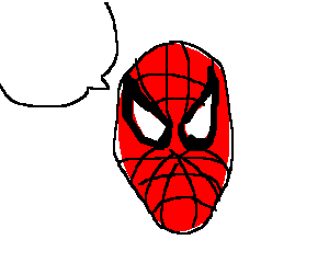 A cut-off speech bubble and head of Spider-Man