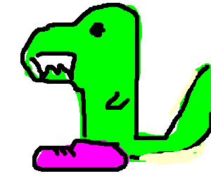 T-Rex wearing pink shoes casually walking