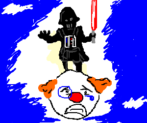 Darth Vader Rides Atop Floating Sad Clown Head