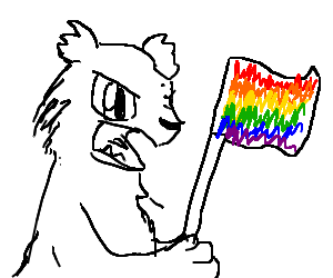 Angry werebear holding a rainbow flagh=