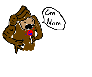 the Rancor (Star Wars) eats a swirl lollipop
