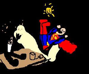 Phantom of the Opera and Superman at playground.