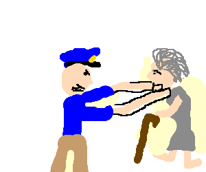 A police officer choking a thin old lady