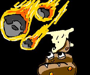 Googly eyed poop monster watches meteor crash.