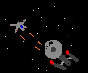 An X-Wing takes on the Enterprise