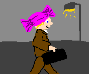 Guy in sweet hat and briefcase walking