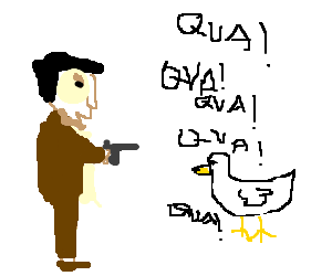 An angry man points a pistol on a verbose duck