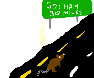 a rat trying to get to gotham city