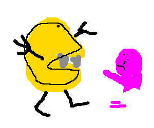 Pacman with body prepares to consume infant
