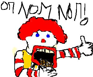 Ronald McDonald noms chocolate