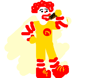 Ronald McDonald noms some tasty chocolate