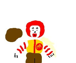 Ronald McDonald eats a steak