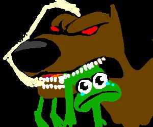 Angry demon dog chews on sad frog