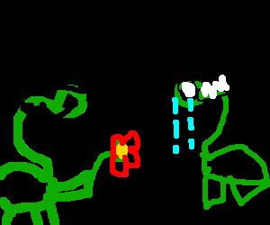 DapperDino offering Flower @ DistressedDino Wife