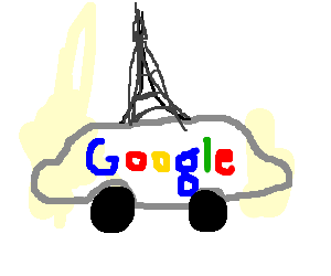 google car with eiffel tower on top