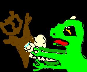 Mutated gecko stuns squirrel