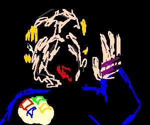 brain damaged man eating pens