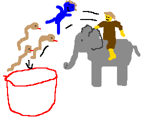 Hannibal drops blueman and 3 snakes in giant cup