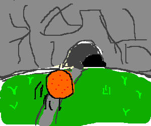 An Orange rolling into a cave
