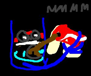 Pepsiman drinks Coke