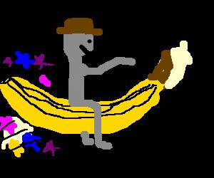 Grey boy riding a magical banana
