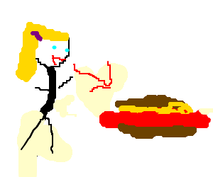 girl looking at a super large hotdog