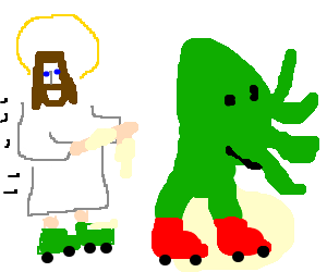 Cthulhu and Jesus go roller skating together