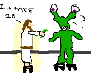 Jesus buying 20 from alien, both on rollerblades