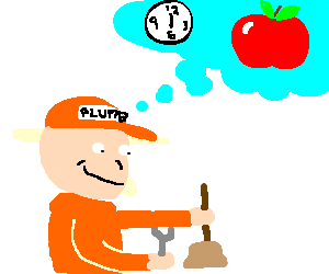 Plumber dreaming of apples for lunch