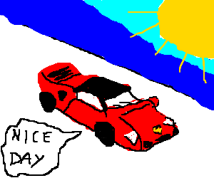 ferrari cruising under the rays of sun
