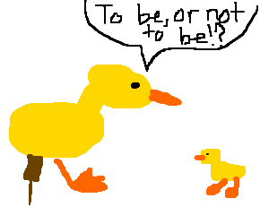 peg leg duck yells at chick
