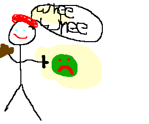 French guy throwing a sad green ball