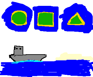 Heroes-3 islands(round,square,triang) grey ship