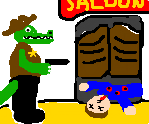 Sheriff Alligator sees a murder inside the saloo