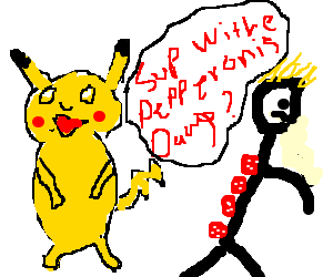 Pikachu talks to guy with pepperonis on back.