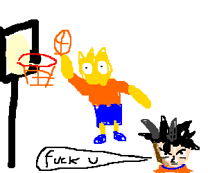 Bart try to make a SlamDunk on Goku