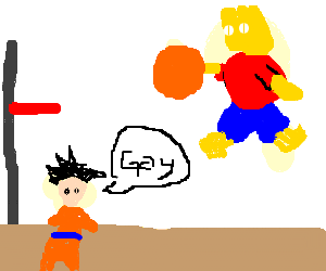 Bart makes a slam dunk while insulted by goku