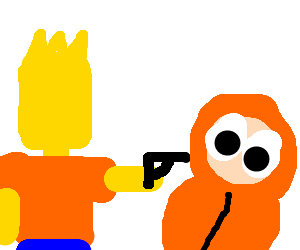 bart simpson shoots kenny in the head