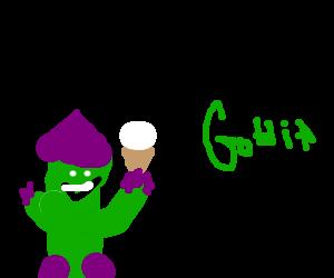 Green Goblin's day off. No mask, eats ice cream.