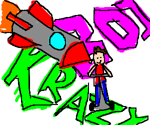 Rocket hits man on Segway near graffiti