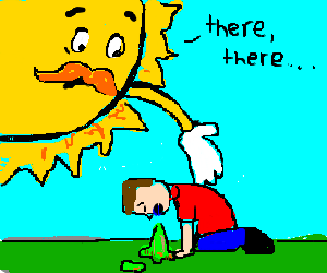 A giant sun consoles a vomiting man