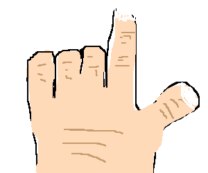 A hand pointing