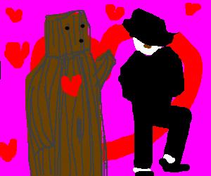 Wooden man loves Michael Jackson