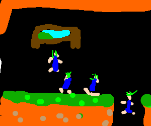 green haired men take turns jumping off a cliff